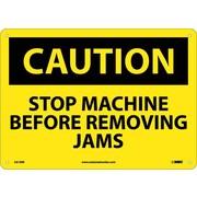 Caution, Stop Machine Before Removing Jams, 10X14, Rigid Plastic