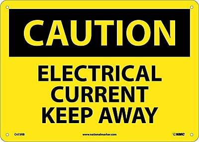 Caution, Electrical Current Keep Away, 10X14, Rigid Plastic