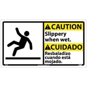 Caution, Slippery When Wet (Bilingual W/Graphic), 10X18, Rigid Plastic