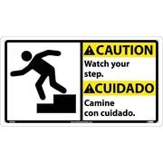 Caution, Watch Your Step (Bilingual W/Graphic), 10X18, Rigid Plastic