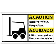 Caution, Forklift Traffic Keep.. (Bilingual W/Graphic), 10X18, Rigid Plastic