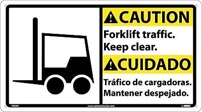 Caution, Forklift Traffic Keep.. (Bilingual W/Graphic), 10X18, Rigid Plastic