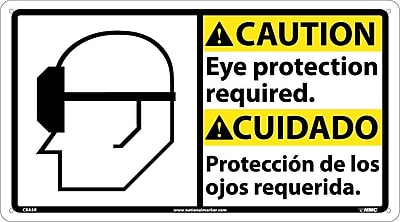 Caution, Eye Protection Required (Bilingual W/Graphic), 10X18, Rigid Plastic