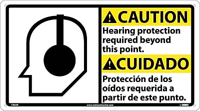 Caution, Hearing Protection (Bilingual W/Graphic), 10X18, Rigid Plastic