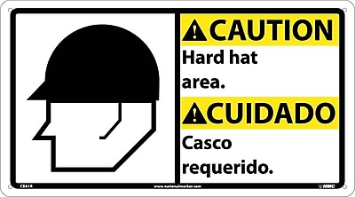 Caution, Hard Hat Area (Bilingual W/Graphic), 10X18, Rigid Plastic
