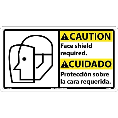 Caution, Face Shield Required (Bilingual W/Graphic), 10X18, Rigid Plastic