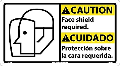 Caution, Face Shield Required (Bilingual W/Graphic), 10X18, Rigid Plastic