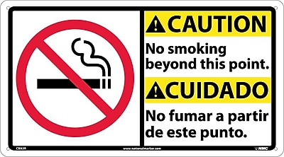 Caution, No Smoking Beyond This Point (Bilingual W/Graphic), 10X18, Rigid Plastic