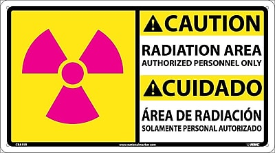 Caution, Radiation Area Authorized Personnel Only (Graphic) Bilingual, 10X18, Adhesive Vinyl