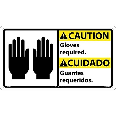 Caution, Gloves Required (Bilingual W/Graphic), 10X18, Rigid Plastic