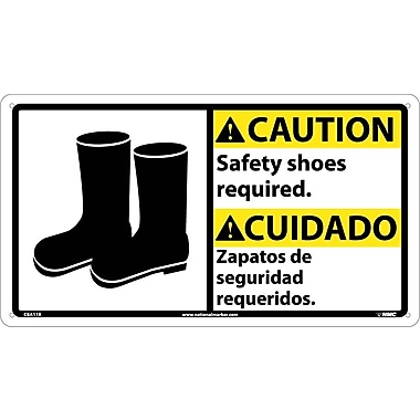 Caution, Safety Shoes Required (Bilingual W/Graphic), 10X18, Rigid Plastic