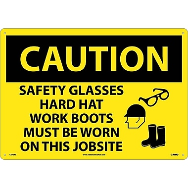 Caution, Safety Glasses Hard Hat Work Boots Must Be Worn On This Jobsite, Graphic, 14