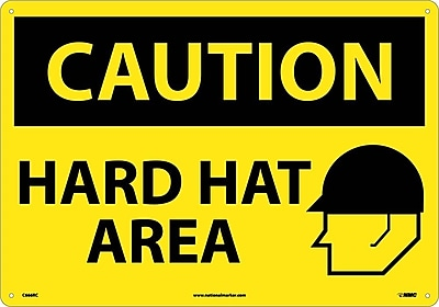 Caution, Hard Hat Area, Graphic, 14X20, Rigid Plastic