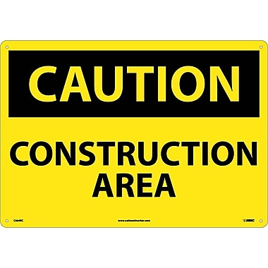 Caution, Construction Area, 14X20. Rigid Plastic