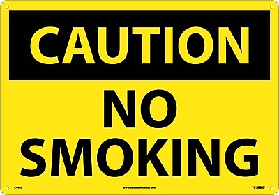 Caution No Smoking, 14X20, Rigid Plastic