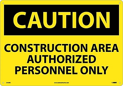 Caution, Construction Area Authorized Personnel Only, 14X20, Rigid Plastic