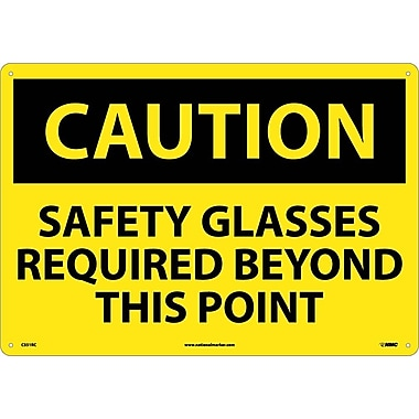 Caution, Safety Glasses Required Beyond This Point, 14X20, Rigid Plastic