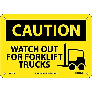 Caution, Watch Out For Forklift Trucks, Graphic, 7X10, .040 Aluminum