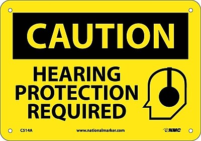 Caution, Hearing Protection Required, Graphic, 7X10, .040 Aluminum