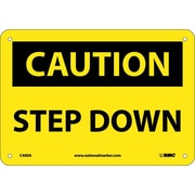 Caution, Step Down, 7X10, .040 Aluminum