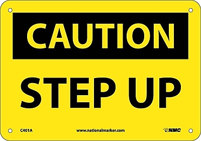 Caution, Step Up, 7X10, .040 Aluminum