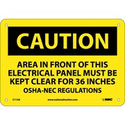 Caution, Area In Front Of This Electrical Panel Must Be Kept Clear
