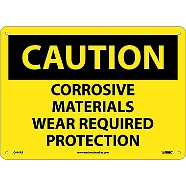 Caution, Corrosive Materials Wear Required Protection, 10