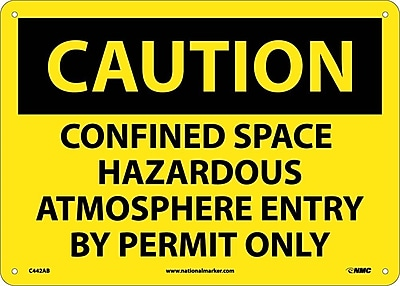 Caution, Confined Space Hazardous Atmosphere Entry By Permit Only, 10X14, .040 Aluminum