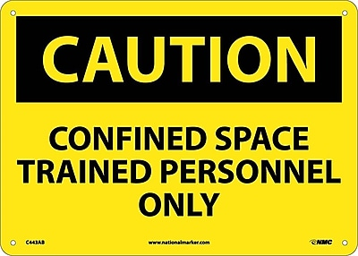 Caution, Confined Space Trained Personnel Only, 10X14, .040 Aluminum