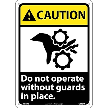 Caution, Do Not Operate Without Guards In Place (W/Graphic), 14X10, Rigid Plastic