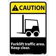 Caution, Forklift Traffic Area Keep Clear (W/Graphic), 14X10, Rigid Plastic
