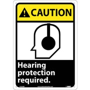 Caution, Hearing Protection Required (W/Graphic), 14X10, Rigid Plastic
