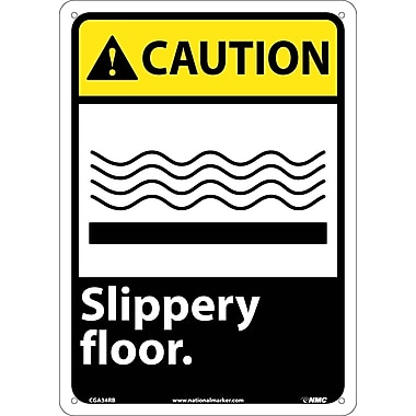 Caution, Slippery Floor, 14X10, Rigid Plastic