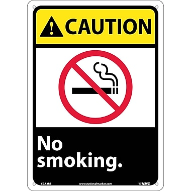 Caution, No Smoking (W/Graphic), 14X10, Rigid Plastic