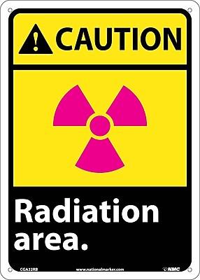 Caution, Radiation Area, 14X10, Rigid Plastic