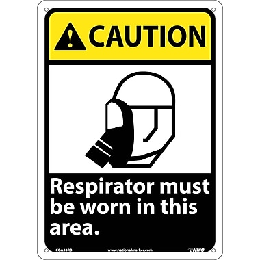 Caution, Respirator Must Be Worn In This Area, 14X10, Rigid Plastic