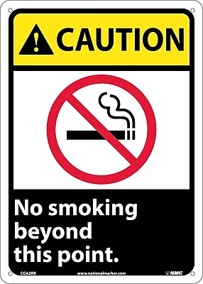Caution, No Smoking Beyond This Point (W/Graphic), 14X10, Rigid Plastic