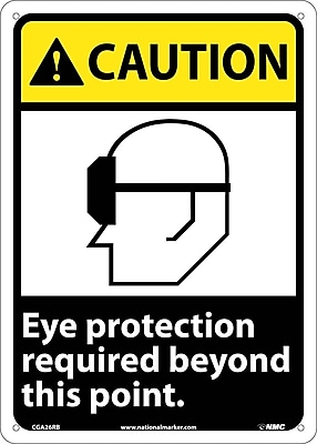 Caution, Eye Protection Required Beyond This Point, 14X10, Rigid Plastic