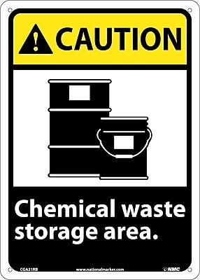 Caution, Chemical Waste Storage Area, 14X10, Rigid Plastic