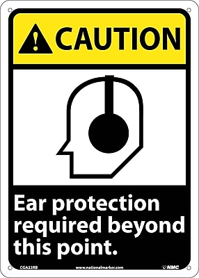 Caution, Ear Protection Required Beyond This Point, 14X10, Rigid Plastic