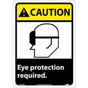 Caution, Eye Protection Required (W/Graphic), 14X10, Rigid Plastic