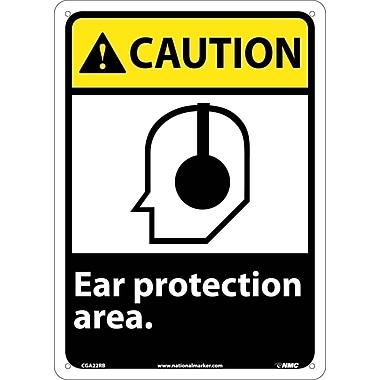 Caution, Ear Protection Area, 14X10, Rigid Plastic