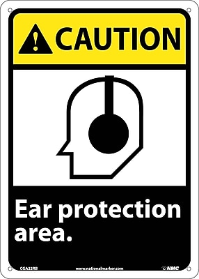 Caution, Ear Protection Area, 14X10, Rigid Plastic