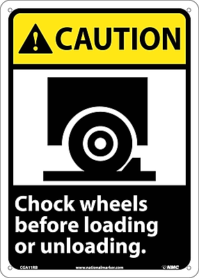 Caution, Chock Wheels Before Loading Or Unloading (W/Graphic), 14X10, Rigid Plastic