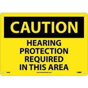 Caution, Hearing Protection Required In This Area, 10X14, Rigid Plastic
