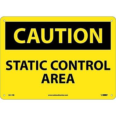 Caution, Static Control Area, 10X14, Rigid Plastic