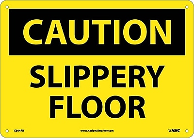 Caution, Slippery Floor, 10X14, Rigid Plastic