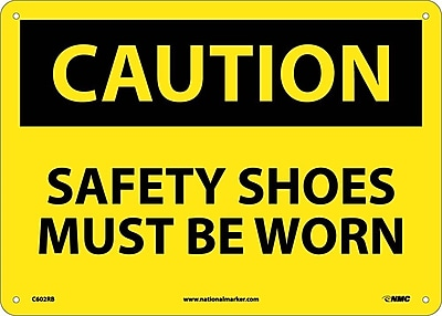Caution, Safety Shoes Must Be Worn, 10X14, Rigid Plastic
