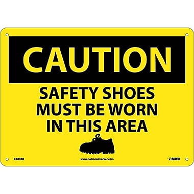 Caution, Safety Shoes Must Be Worn In This Area, Graphic, 10X14, Rigid Plastic