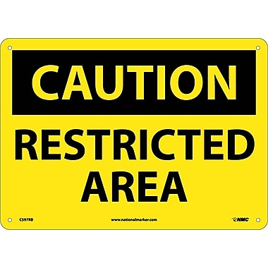Caution, Restricted Area, 10X14, Rigid Plastic